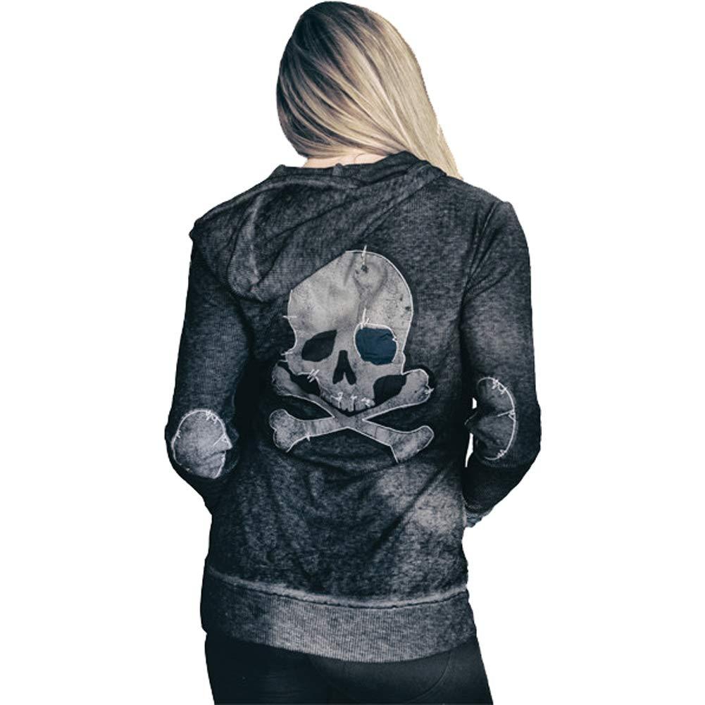 4e8b6f21 Amazon.com: Lethal Angel Women's Grunge Skull Zip Up Hoodie Grey L ...