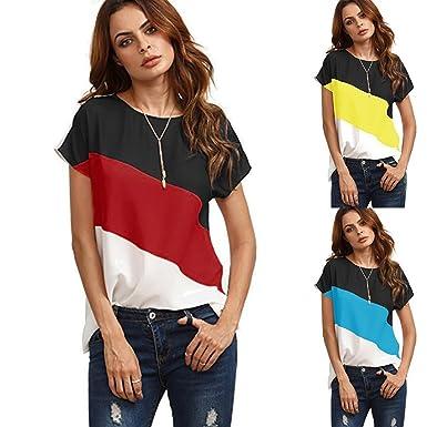 Mujer Redondo Manga Corto Camisas Blusas Color Block T-Shirt Camisetas ❤ Manadlian: Amazon.es: Ropa y accesorios