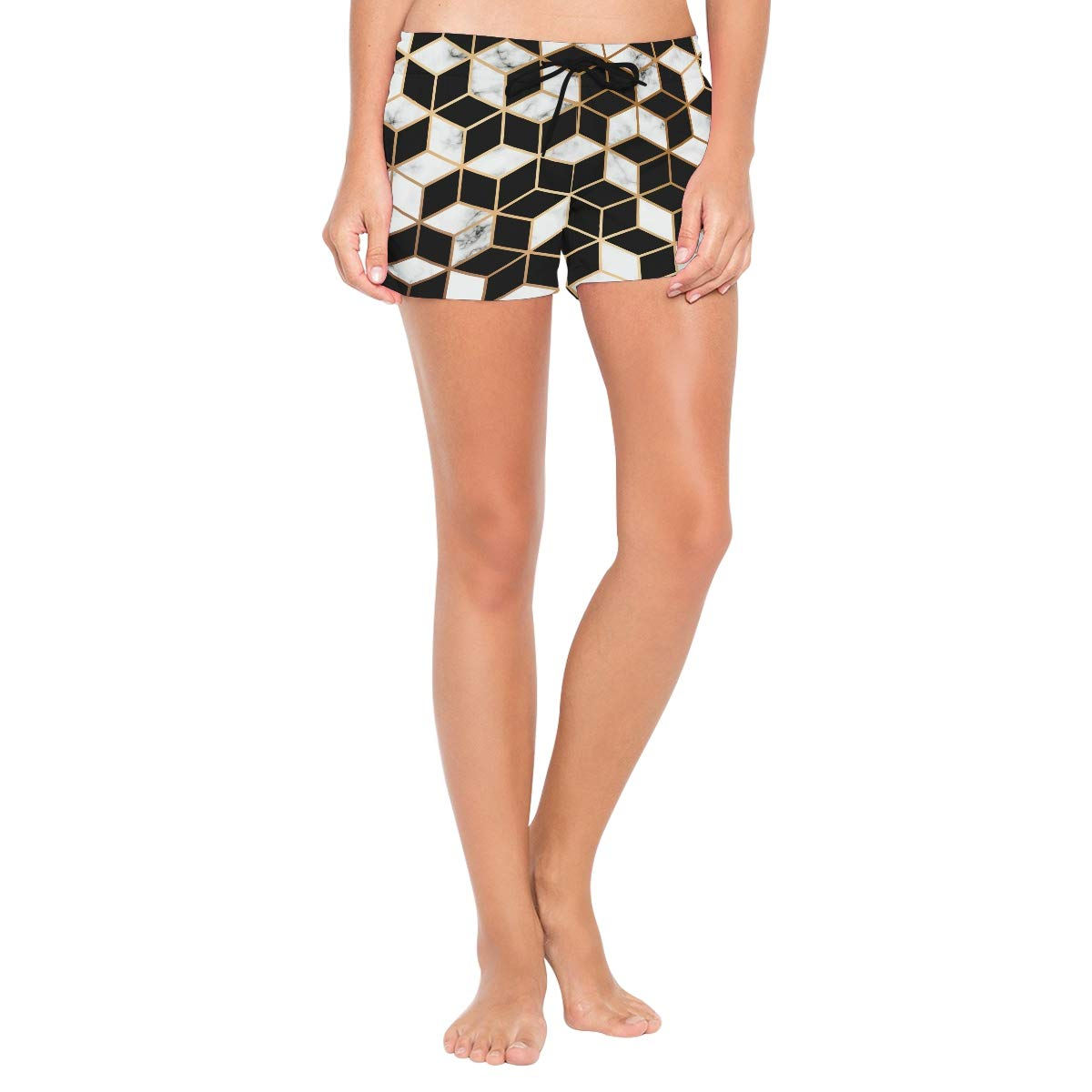 Women Swim Trunks Golden Line Geometric Pattern Black White Beach Board Shorts