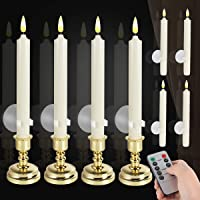 8 Pack Flameless Window Candles Set. with 8 Clips+8 Suction Cup+8 Golden Candleholders. Battery Powered Ivory Taper…