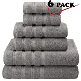 Premium, Luxury Hotel & Spa, 6 Piece Towel Set, Turkish Cotton for Maximum Softness and Absorbency by American Soft Linen, [Worth $72.95] (Charcoal Grey)