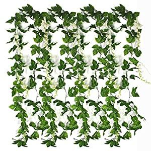 Bird Fiy Artificial Vine Ivy Garland Wisteria Jungle Vine Artificial Flowers Hanging Vines Faux Silk Greenery Fake Green Leaf Garland Vines of Artificial Plants Jungle Party 73