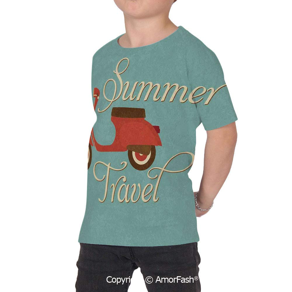 PUTIEN 1960s Decorations All Over Print T-Shirt,95/% Polyester,Childrens Short Sleeve T