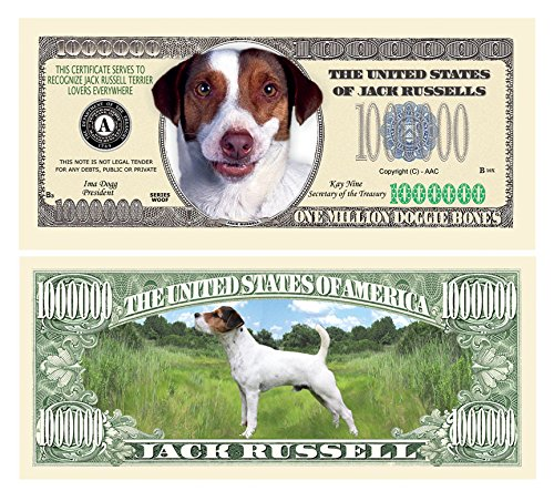 American Art Classics Jack Russell Terrier Dog Limited Edition Collectible Novelty Million Dollar Bills - Set of 10 - Best Gift for Lovers Of Jack Russell Terrier Dogs ()