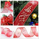 USHOT Christmas Tree Decorations 6.3X200cm 8880 2M Wired Edge Christmas Ribbon Packaging Decoration Craft Gift Present