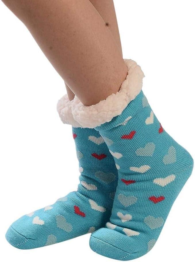 VJGOAL Mujeres invierno moda casual calcetines de algodón de impresión más gruesa antideslizante calcetines del piso de la alfombra medias calcetines de tubo(Un tamaño, Azul): Amazon.es: Ropa y accesorios