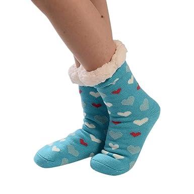 VJGOAL Mujeres invierno moda casual calcetines de algodón de impresión más gruesa antideslizante calcetines del piso