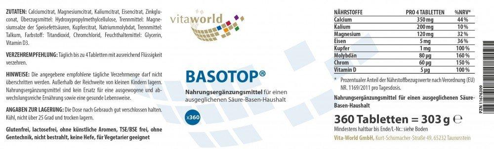 Pack de 3 Basotop Polvo Mineral Complejo Alcalinizante 3 x 360 Cápsulas Vegetales Vita World Farmacia Alemania - Minerales: Amazon.es: Salud y cuidado ...