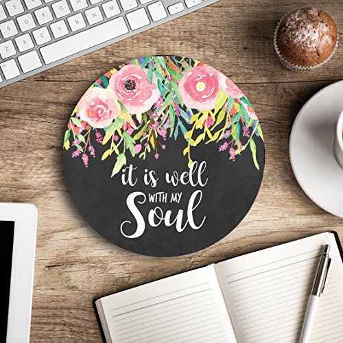 (It is well with my soul - Christian quote - Inspirational Office Decor Mouse pad with bible verse - Pretty office decor - Decorate your office space - Gifts for women)