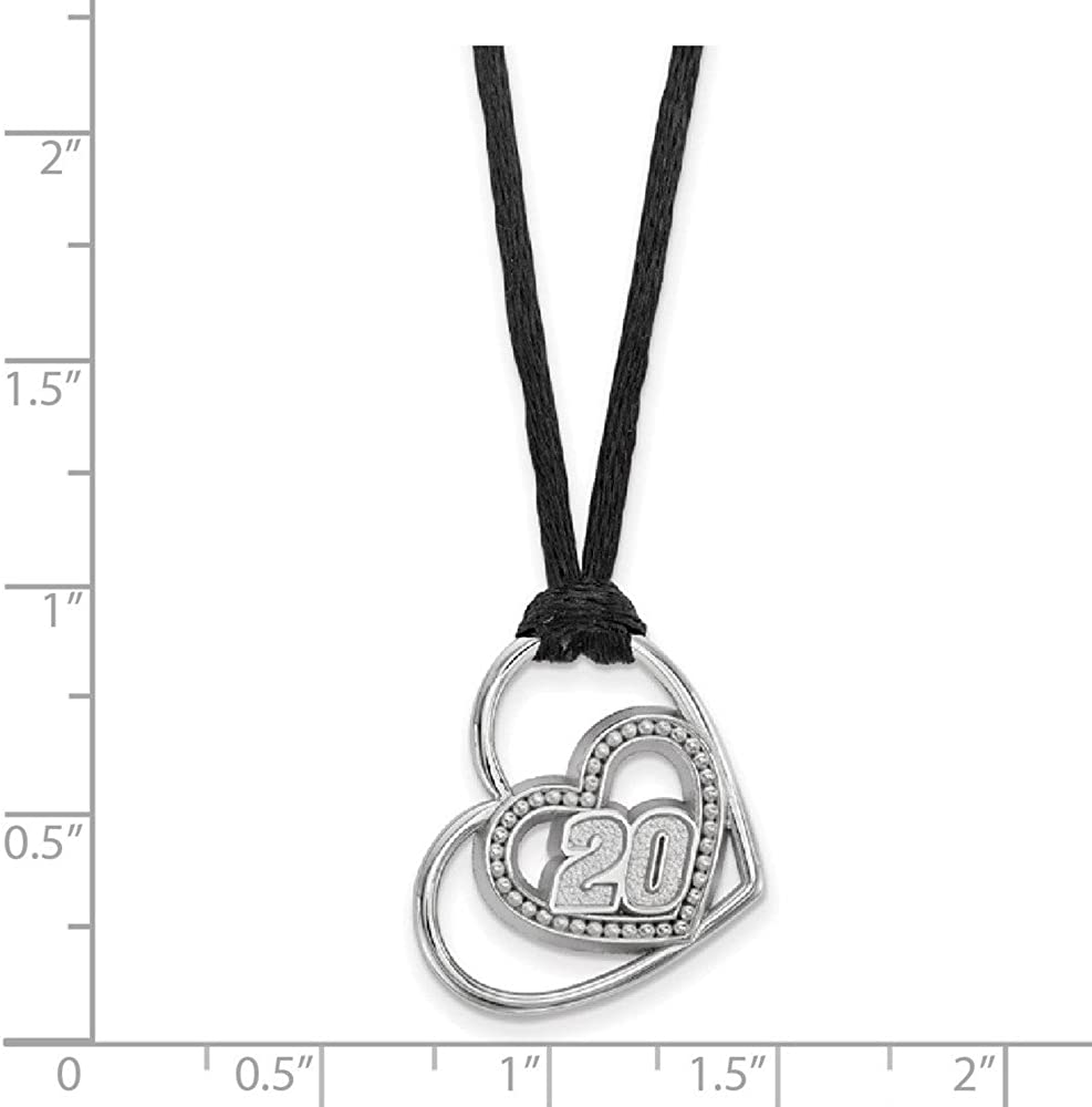 Solid 925 Sterling Silver Official NASCAR Number # 5 Erik Jones Heart Cord Brushed Matte Finish Pendant Necklace Charm Chain 18 Width = 20mm