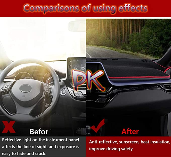 Great-luck Dashboard Cover Mat Custom Fit Dashboard Protector,Dash Cover Easy Installation Reduces Glare,for Toyota RAV4 2019-2020