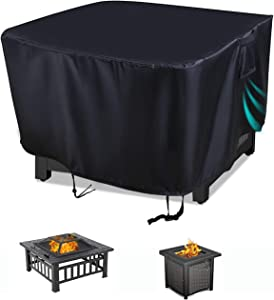 "Aidetech Patio Fire Pit Cover Square 40""x40""x21"", Outdoor Heavy Duty Polyester Waterproof Weatherproof with Airvents and Drawstring for Gas Firepit Cover"