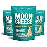 Moon Cheese Garlickin' Parmesan, 100% Parmesan Cheese Snacks, Crunchy Keto Food, Low Carb, High Protein, 2 oz. (3 Pack)