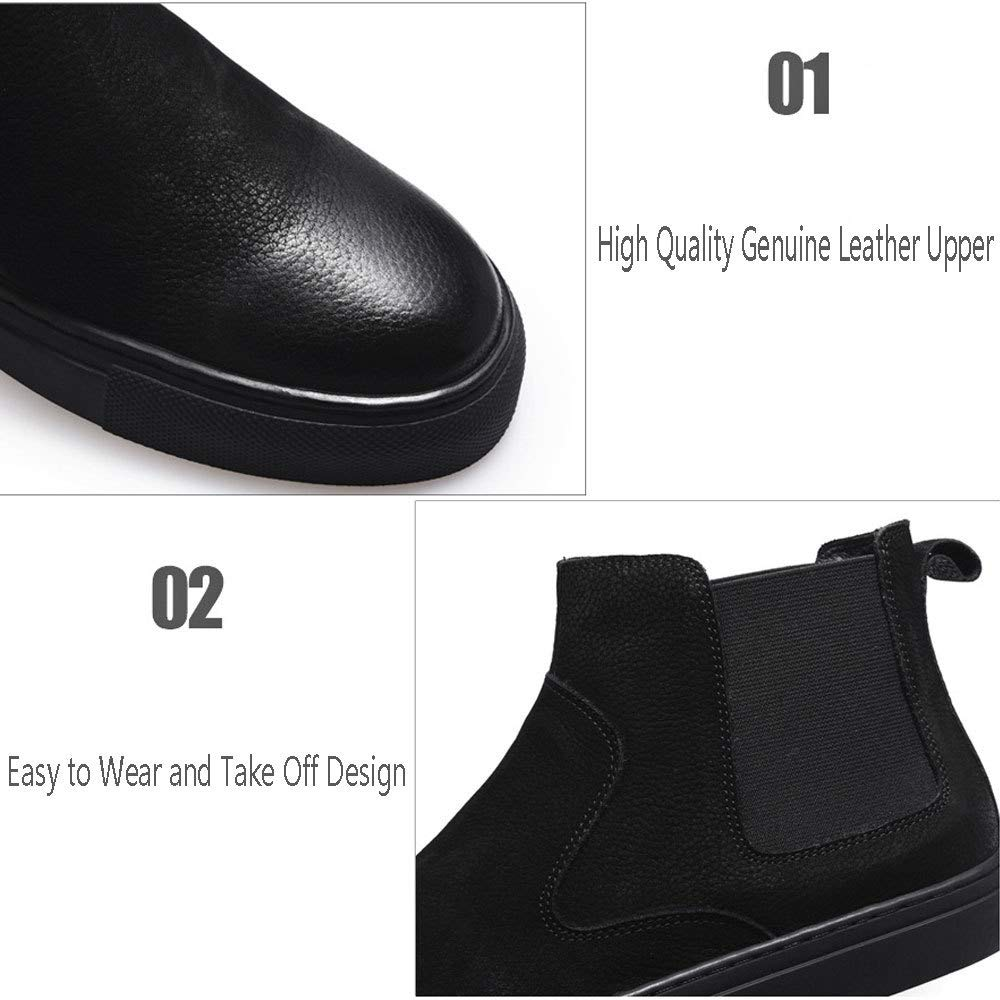 GHCX Chaussures Homme Homme Homme Bottes Martin Outdoor Retro Plus Velvet Keep Warm Bottes en Cuir Décontractées Automne Hiver Mode Respirante Et Antidérapante Corium,Black-38 ff73d2