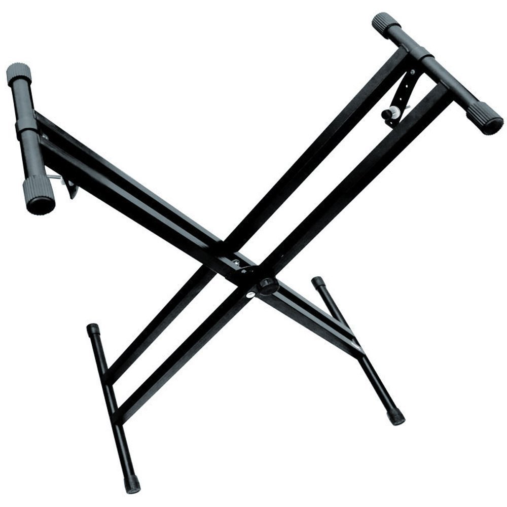 Piano Keyboard Stand Heavy-Duty, Double-X, Pre-Assembled, Infinitely Adjustable with Locking Straps The ONE Music Group T1ASB