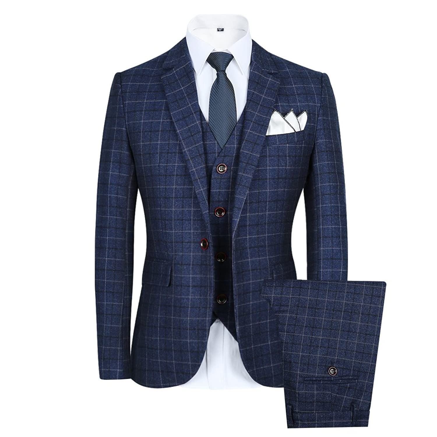 1920s Fashion for Men CCXO Men's Slim Plaid Modern Fit One Button 3-Piece Suit Blazer Dress Suit Jacket Tux Vest & Trousers $79.99 AT vintagedancer.com