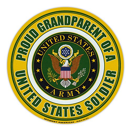 Round Magnet - Proud Grandparent of a Soldier - United States Army, Military - 5