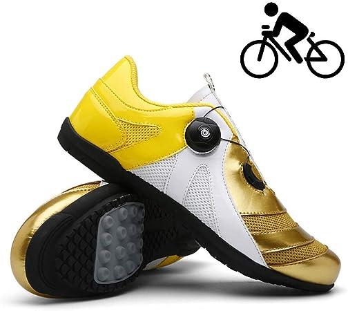 YURU Zapatillas De Ciclismo Unisex Zapatillas De Bicicleta De Carretera para Hombre Sin Bloqueo Zapatillas De Atleta Al Aire Libre Resistentes A La Abrasión Y Transpirables,Gold-43: Amazon.es: Hogar