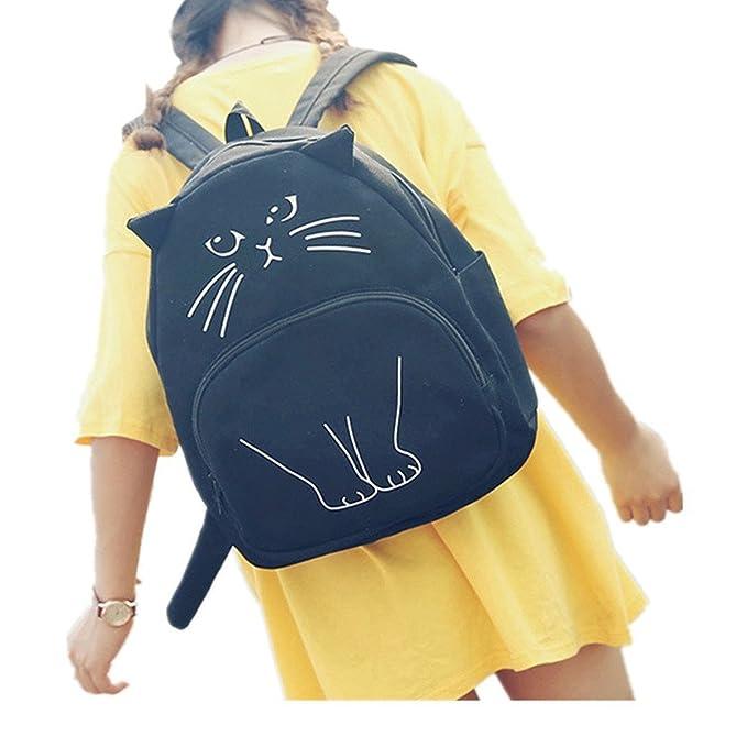 7283584aebbf Cat Design Animal Backpack Teens Girls Cartoon Shoulder Bag Cat Backpack  (Black)