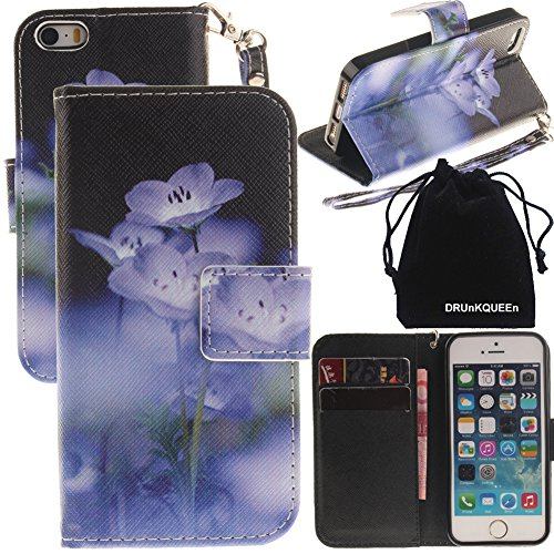 iPhone SE Case, iPhone 5s Case, DRUnKQUEEn Wallet Purse Type Leather Credit Cards Case with Cellphone Holder Flip Cover for Apple iPhoneSE iPhone5S - Hand Strap Included