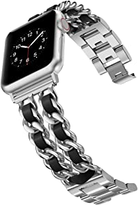 Wearlizer Chain Bands Compatible with Apple Watch Band 38mm 40mm for Women,iWatch Dressy Fancy Stainless Steel Leather Loop Replacement Strap Bracelet for Apple Watch Series 6 5 4 3 2 1 Silver+Black