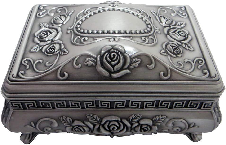 Happy Homewares Joyero Art Nouveau de Peltre Cepillado a Mano con Interior de Terciopelo Negro