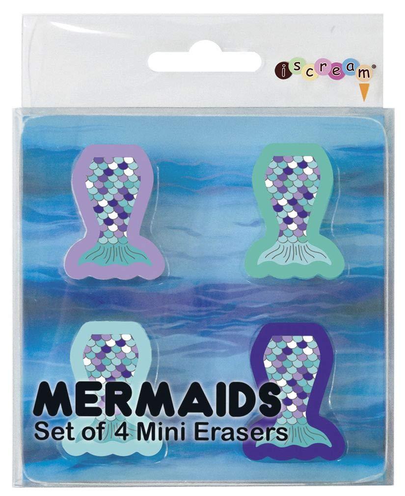 iscream Mermazing Mermaid Tail Set of 4 Colorful Die-Cut Mini Erasers