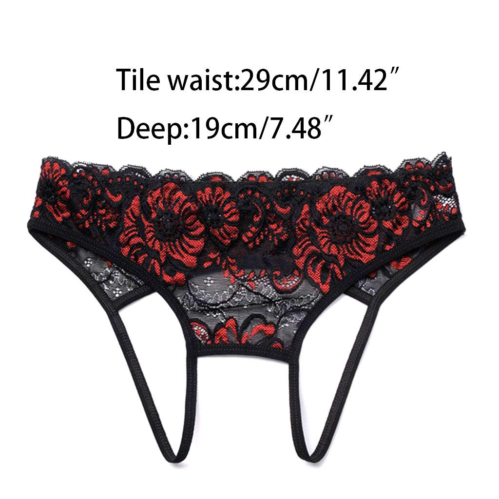 Womens Low Rise Temptation Open Back Underwear Lingerie Embroidered Sheer Floral Lace G-String Crotchless Hollow Thongs Panties by DDlong (Image #7)