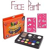 PaintFun 24 Piece Face Paint, Body Paint & Glitter Party Pack. (Paints 60+ Faces!) 100% Child Safe (FDA Approved)