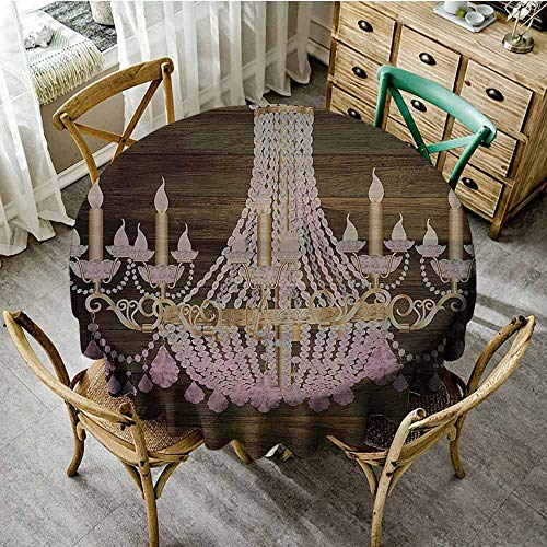 SEMZUXCVO Home Round Tablecloth Rustic Wooden Suitable for Cafeteria Planks Crystal Chandelier Fashionable Textile Modern Special Collection Decorative Item Elegant Decor D39 Brown Pink