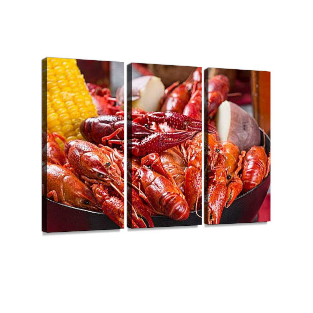 Crawfish Boil 3 Pieces Print On Canvas Wall Artwork Modern Photography Home Decor Unique Pattern Stretched and Framed 3 Piece