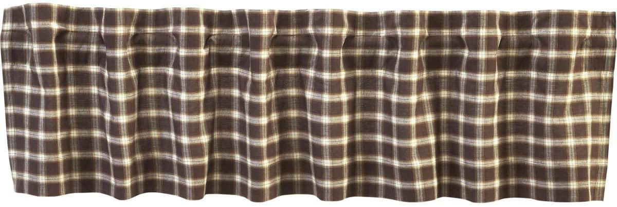 VHC Brands 27088 Tea Cabin Green Plaid Valance 16×72