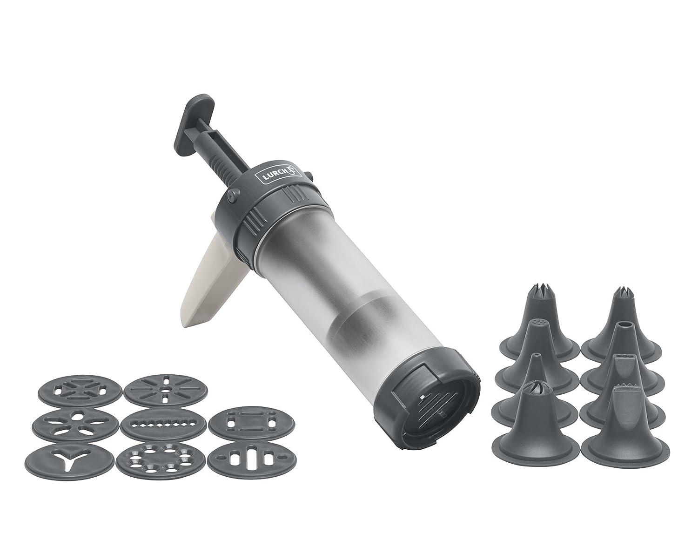 Lurch 70254 Gebäckpresse, Kunststoff, Iron Grey/Weiß, 5 x 20 x 15 cm Lurch 70254 Gebäckpresse Iron Grey/Weiß