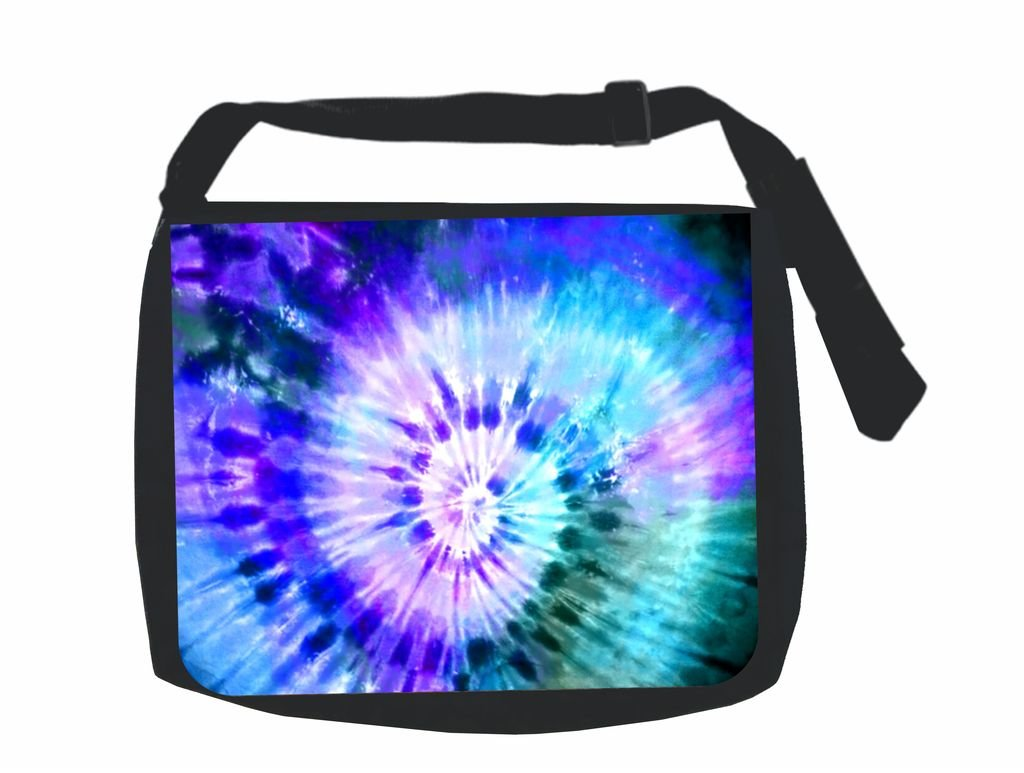 Blue-Green-Purple Tie Dye Print Design TM School Messenger Bag by Jacks Outlet