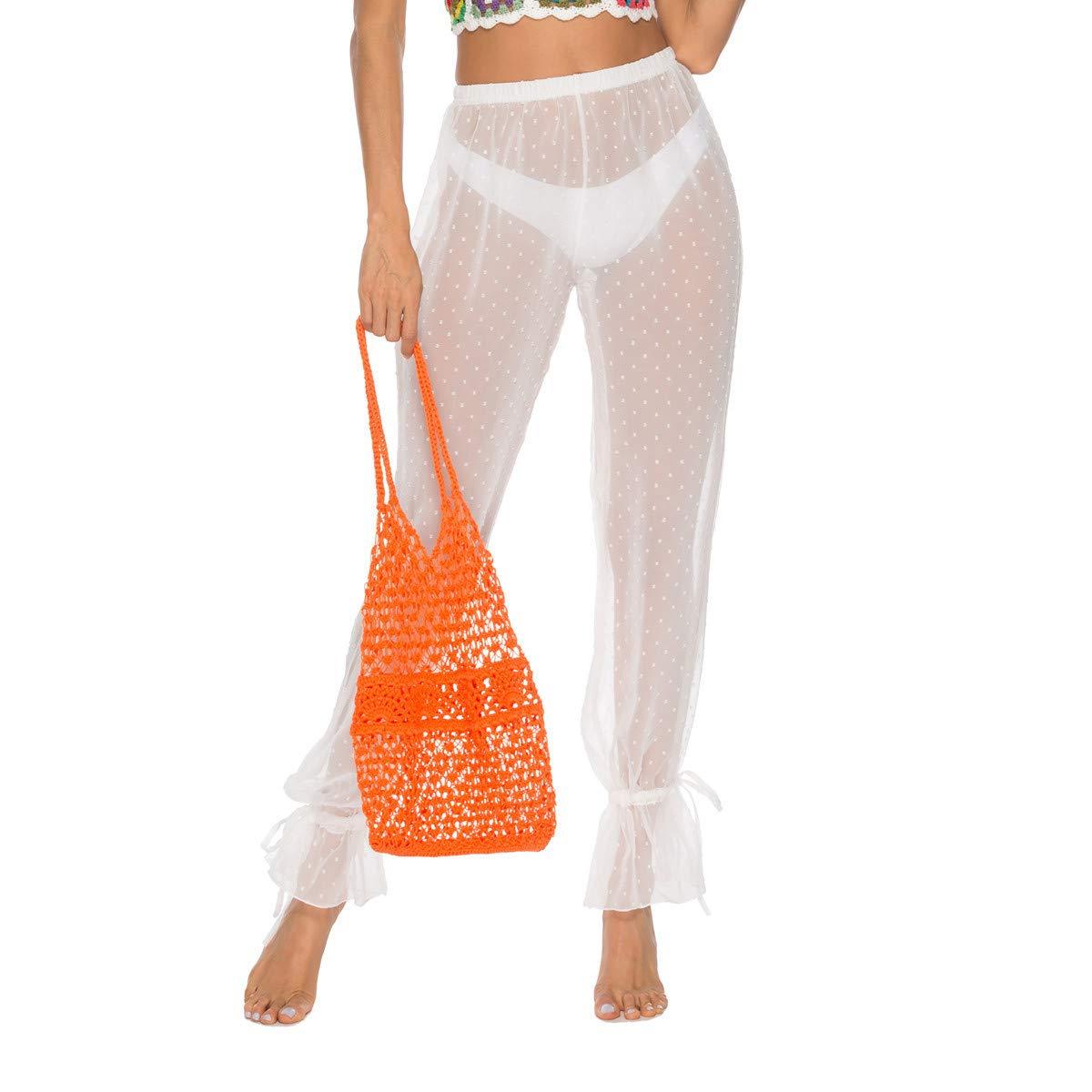 de587db1fed Riceei Women See Through Bikini Swimsuit Cover ups Pant Sexy Swimwear  Bathing Suit mesh Beach Pants White at Amazon Women's Clothing store: