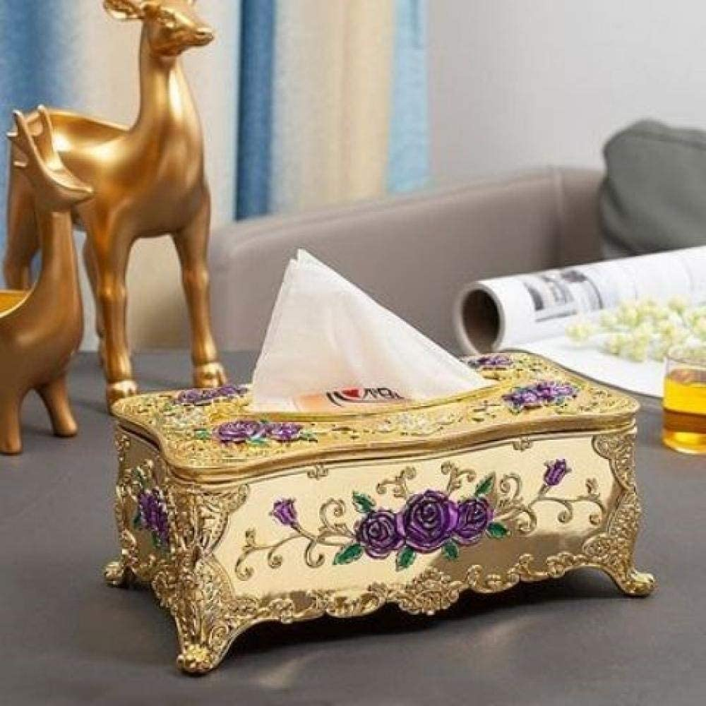 YXYLQ Europ/äische Retro Acryl Mode Tissue Box Gast Restaurant Hause Lagerung Handwerk Ktv Schublade Fach Multifunktions-Gr/ünes Blattgold Der Gelben Blume