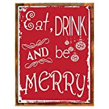Cheap Wood-Framed Eat, Drink and Be Merry, Metal Sign, Holiday, Christmas, Home Decor for kitchen on reclaimed, rustic wood