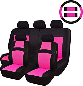 Pink Leather Look Car Seat Covers Steering wheel for Citroen C4 All Years