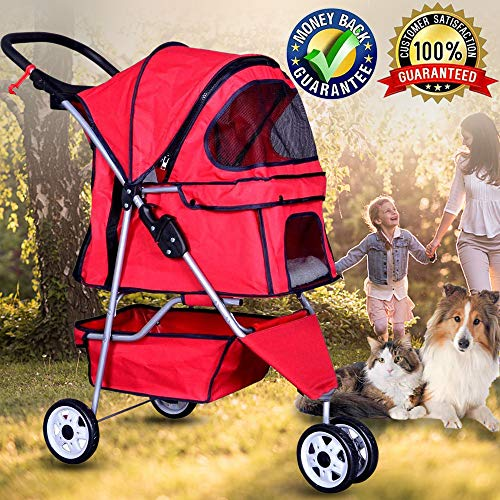 Bigacc Three Wheels Pet Stroller Large/Small Dog Stroller Cat Stroller Pet Jogging Stroller Pet Jogger Stroller Dog/Cat Cage Travel Lite Foldable Carrier Strolling Cart,Red