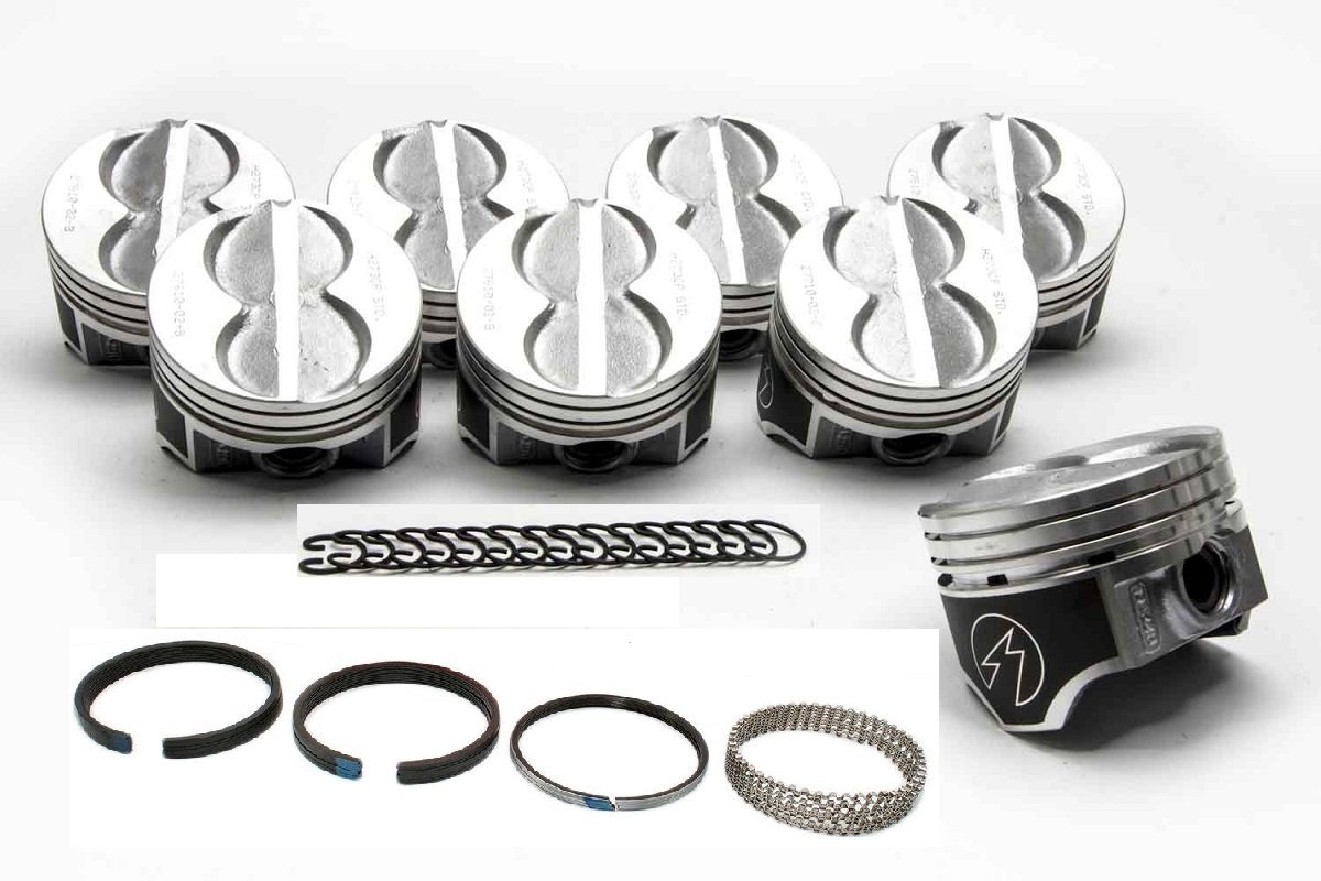 SBF Ford 289 302 Flat Top Speed Pro Pistons & matching Moly Rings (+.040 over size 4.040' Bore Diameter) Sealed Power/Perfect Circle