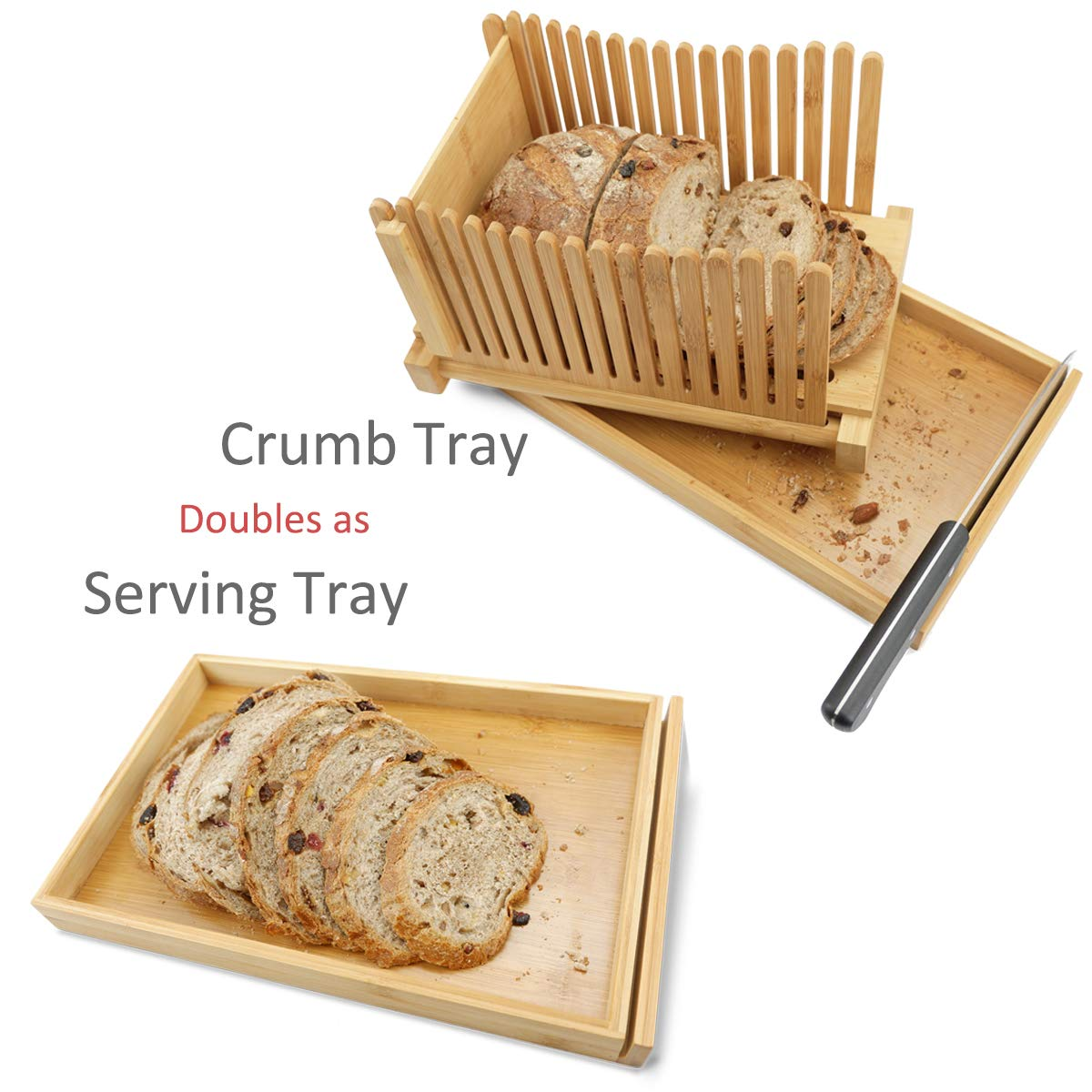MAGIGO Nature Bamboo Foldable Bread Slicer with Crumb Catcher Tray, Bread Slicing Guide and Knife Rest for Homemade Bread & Loaf Cakes, Thickness Adjustable, Contains 20 Bread Bags & 20 Twist Ties by MAGIGO (Image #4)