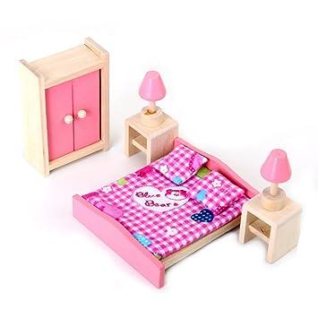 Schlafzimmer Holzmobel | Gazechimp Puppenhaus Schlafzimmer Holzmobel Set Kinder Spielzeug