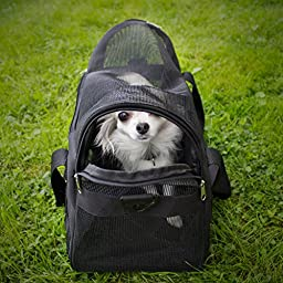 SmartPets Soft-Sided Pet Travel Carrier | 18 Inch X 9 X 12 for Cats and Small Dogs | Black Fleece Bed & Detachable Shoulder Strap | Airline Approved for Under Seat Travel