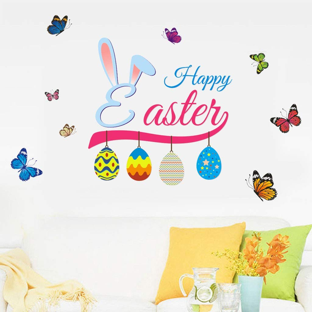 Cyhulu Creative Removable Window Wall Decal, Exquisite Fashion Cartoon Happy Easter Rabbit Egg Butterfly 3D Mural Vinyl Stickers for Bedroom Living Room Home Office Wall Art DIY Decoration