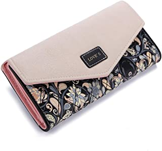 DASHJGGL Portefeuille Femme The New Women Envelope Wallet Hit Color 3Fold Flowers Printing Zipper Card PU Leather Wallet Long Ladies Clutch Coin