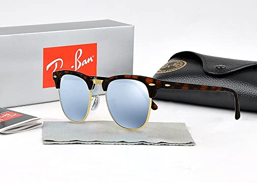 abdb341d0a86 New Ray-Ban Clubmaster Classic Sunglasses Tortoise Frame Bright Flash Lens  Non-Polarized Oversize Sunglasses for Women Men Outdoor Activities with  Leather ...