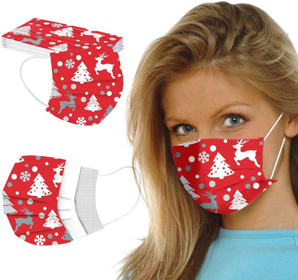 Mujer Hombre Navidad Cara Industrial 3Ply Loop 50PCS Bandana Transpirable Reutilizable Ajustable para Mujeres Env/ío ES