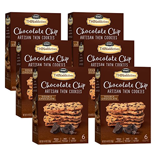 6 Boxes of Nonni's THINaddictives, Chocolate Chip Thin Cookies, Double Chocolate, 18 Cookies per Box for Total of 108 (Calories Dark Chocolate Chips)