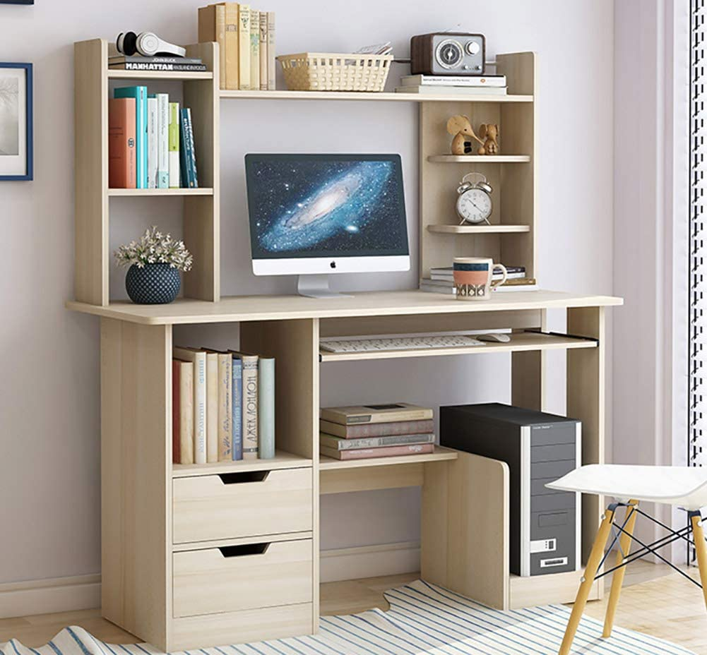 Computer Desk with Drawers Storage Shelf & Keyboard Tray,Large Pc Desk Gaming Desk Study Table Desktop Table for Home Multipurpose Workstation