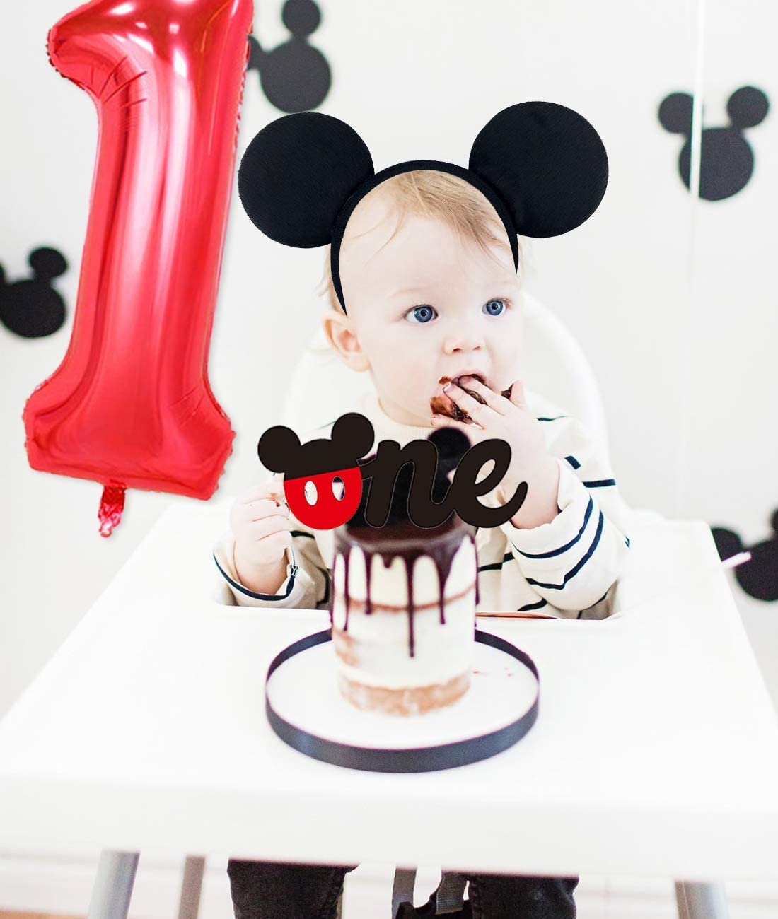 Mickey Themed 1st Birthday Decorations Mickey and Minnie First Birthday Party Supplies Headband with Happy Birthday One Banner Cake Topper